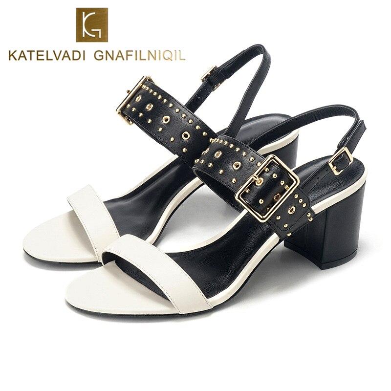 KATELVADI Sandales D'été Mode Blanc PU En Cuir Talons Carrés Chaussures D'été Femmes Chaussures 6 CM De Haut Talon Chaussures De Mariage K-347