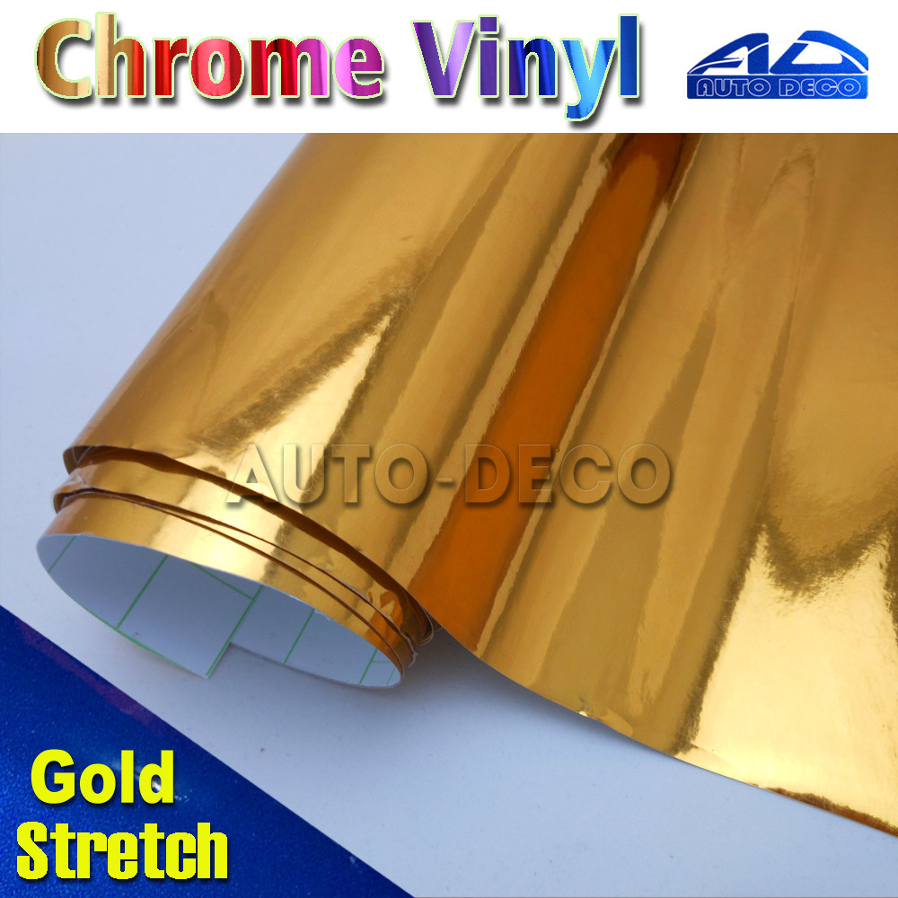 Shiny Gold Chrome Vinyl Car Wrap Sticker Car Body Deco Film Sheet With Air Bubble Free Free Shipping By FedEx size:1.52*20m/roll car styling wrap glossy pink car vinyl film body sticker car wrap with air free bubble for vehiche motorcycle 1 52 20m roll