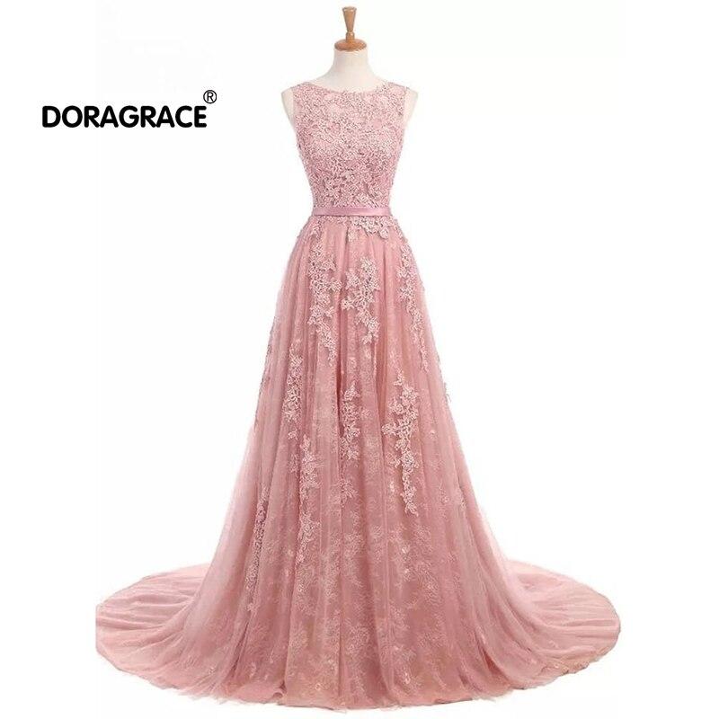 Doragrace robe de soiree New Arrival Applique Lace Prom   Dresses   Long   Evening     Dress   Blush
