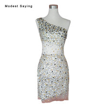 Real Escarpada Atractiva Recta de Un Hombro Vestidos de Coctel Cortos Rhinestone 2017 Mini Dance Party Prom Vestido vestidos de coctel YC21