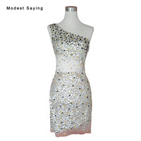 Real Sexy Sheer Straight One Shoulder Rhinestone Short Cocktail Dresses 2017 Mini Dance Party Prom Gown vestidos de coctel YC21