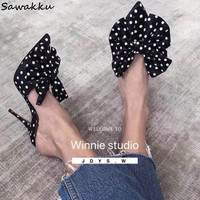 Fashion Brand Satin Women Slippers Big Bowtie Polka Dot High Heels Mules Silk Slides Pointed Toe Lady Sandals Runway Shoes Woman