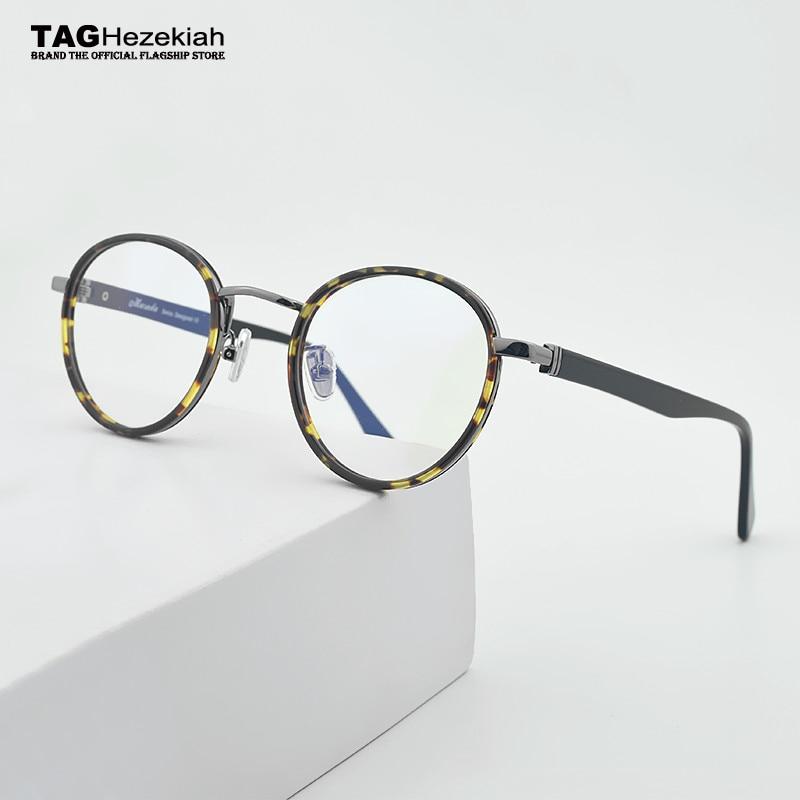 Nouvelles lunettes rondes montures de lunettes pour hommes lunettes cadre  femmes 2018 TAG Ezéchias Marque Myopie bbcff288c603