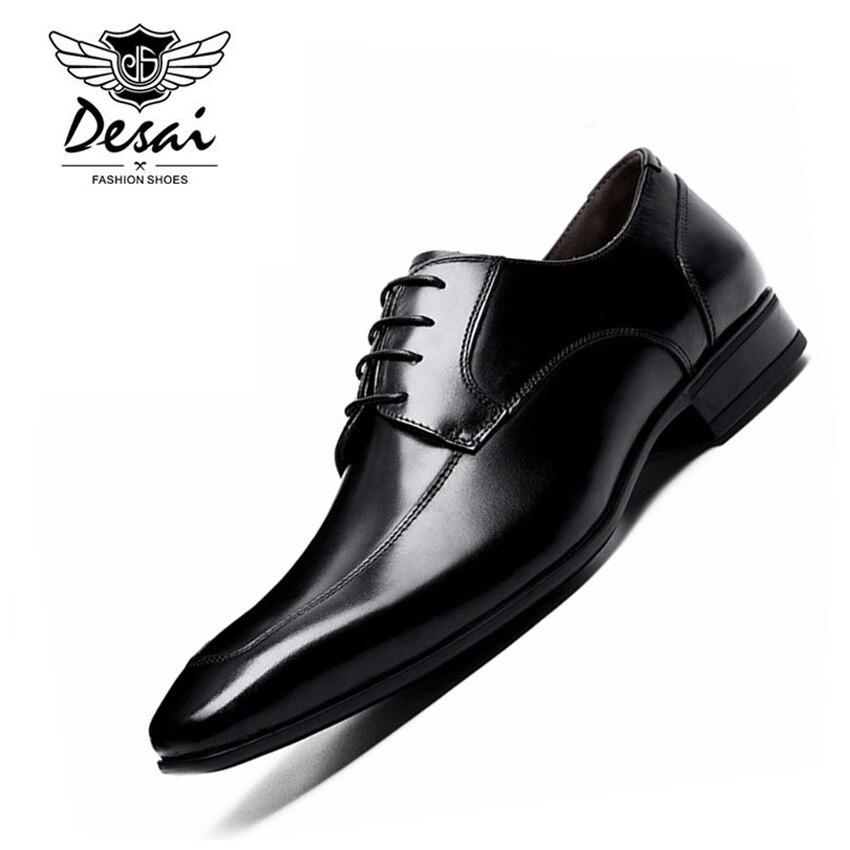 DESAI marka skórzane buty męskie Pointed Toe czarne buty Oxford dla mężczyzn biznes sznurowane buty sukienka z prawdziwej skóry obuwie w Męskie nieformalne buty od Buty na  Grupa 1