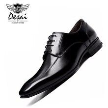 DESAI marque en cuir hommes chaussures bout pointu noir Oxford chaussures pour hommes d'affaires à lacets chaussures habillées chaussures en cuir véritable