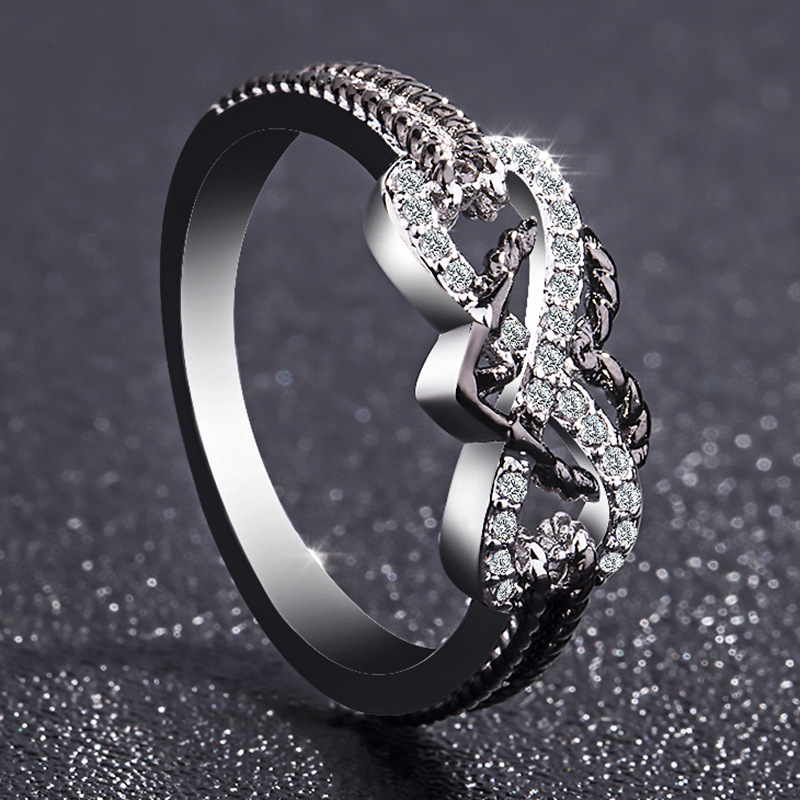 Love You Forever Promise Infinity Heart Ring 3
