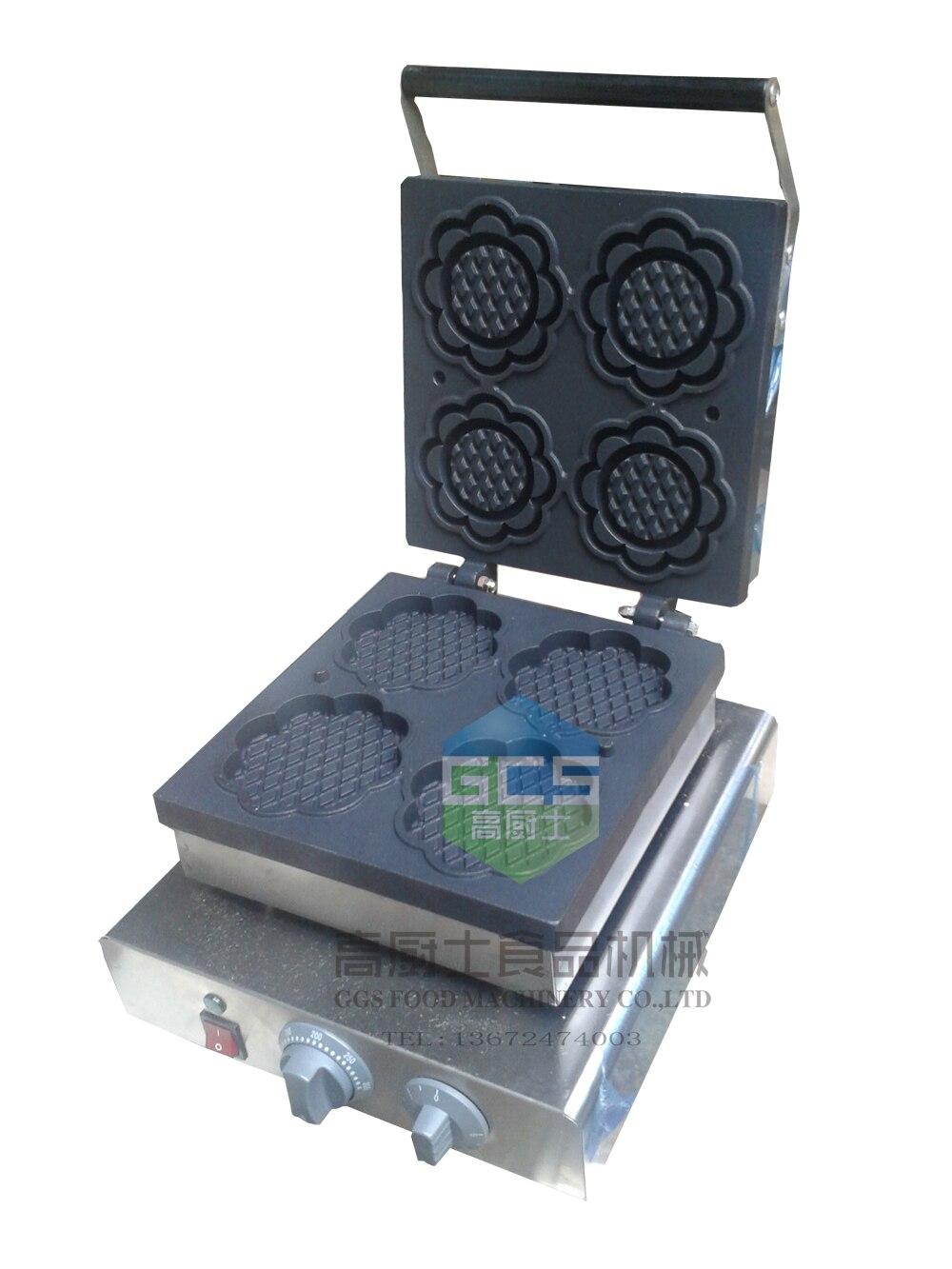 Free shipping~ Electric 220V 110V Sunflower waffle machine/ waffle making machine 110v 220v automatic donut making machines with 3 mold free shipping