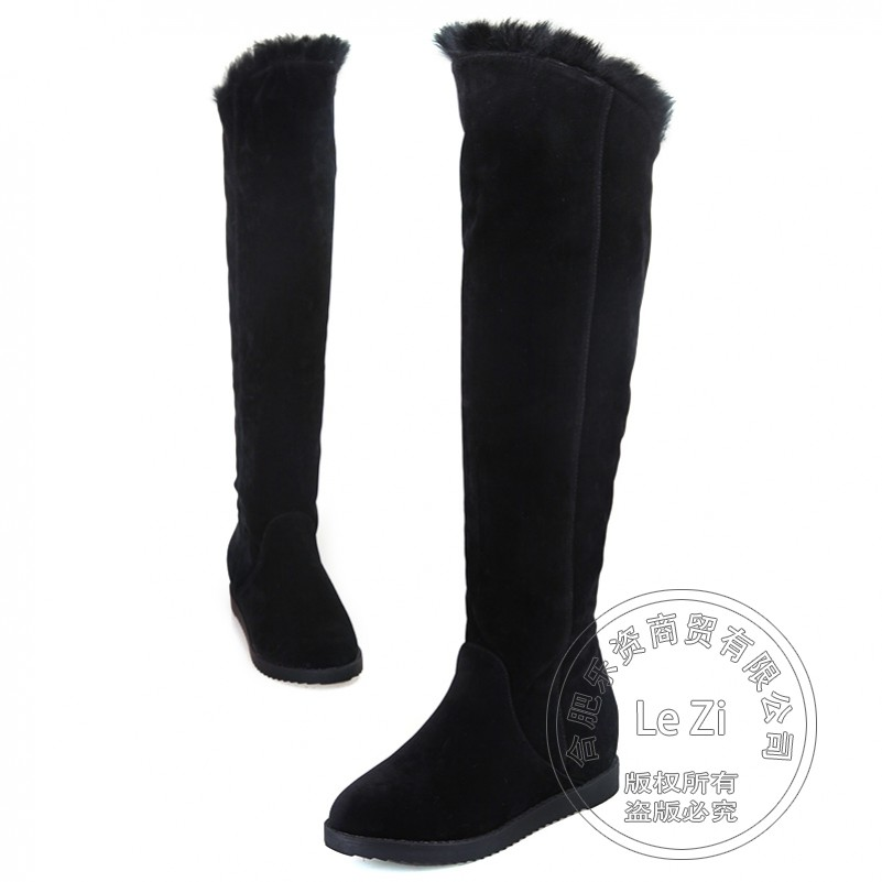 ФОТО Black Slip On Solid Color Graceful Lady Casual Cuban Hidden Heel Knee High Rabbit Fur Lined New Arrival Winter Shoes Woman