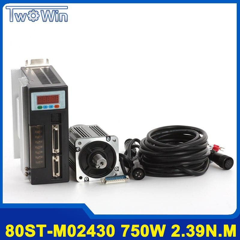 750 w AC Servo Motor 80ST-M02430 2.39Nm AC Servo Motor 3000 rpm Do Motor + Servo Driver de Motor com 3 m cabo