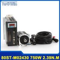750W AC Servo Motor 80ST M02430 Servo Motor 3000RPM 2.39Nm AC Motor + Servo Motor Driver with 3 M cable