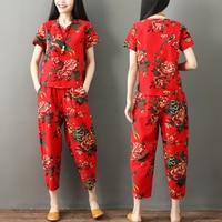 New national wind pants suit summer Women's Sets cotton linen Print V neck short sleeved shirt + casual harem pants two piece