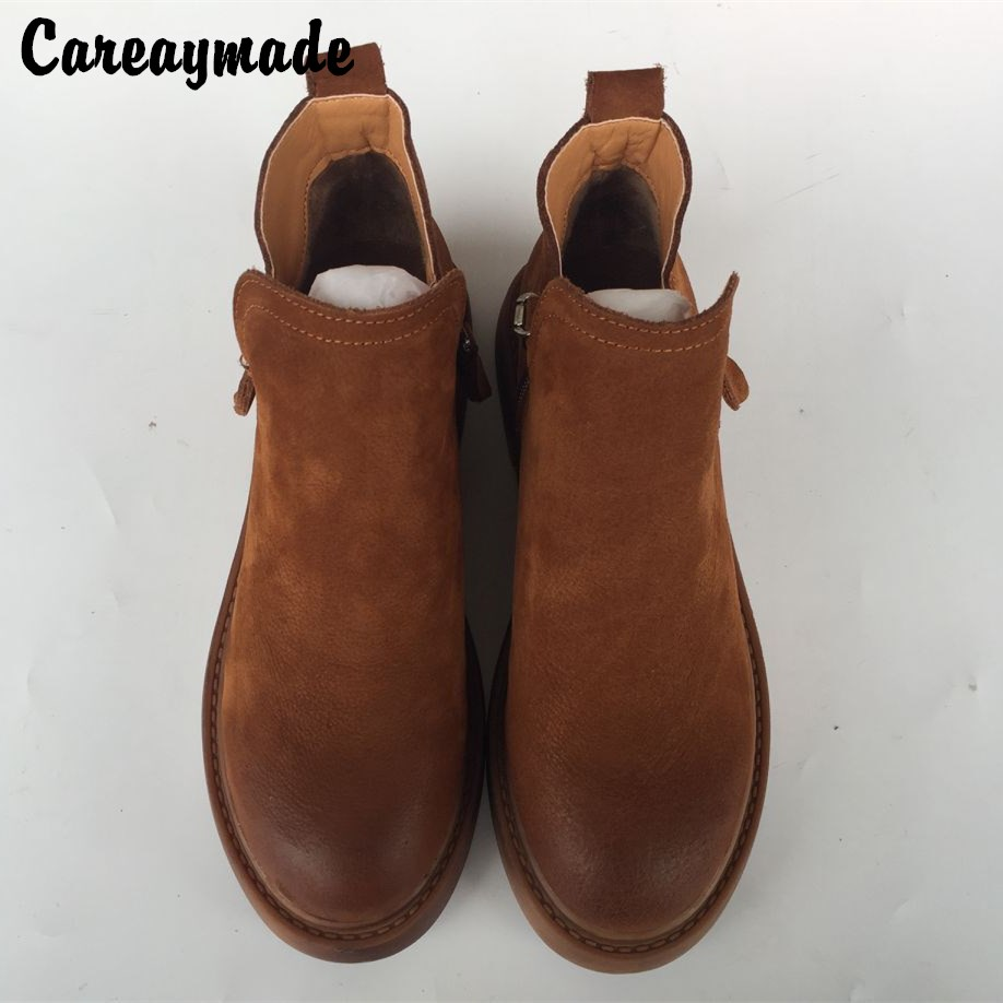 Careaymade 2018 autumn handmade Genuine Leather Flat Boots retro Martin boots side zipper leisure fashion ankle boots,2 colors