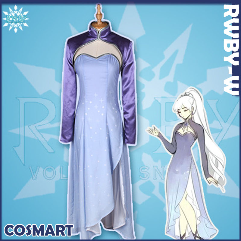 [Customize]+Crown Anime RWBY S4 WHITE figure Weiss Schnee Long Uniform Halloween Cosplay Costumes for women NEW 2018 free ship free ship gou matsuoka long wine red women style anime cosplay wig one ponytail 370f