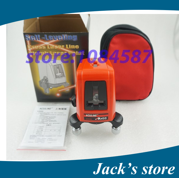Free Shipping 3 Lines 3 points AK455 360degree Self leveling Cross Laser Level Red HOT SALE