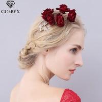 CC изделия заколки для волос свадебные волос Аксессуары Beach Party свадебный венец для женщин цветы невесты Тиара Романтическая изысканные ювел...