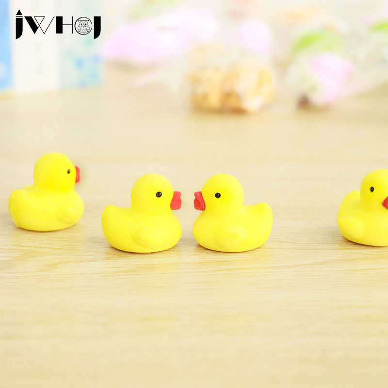 2 Pcs JWHCJ Novelty Yellow Duck Shape Rubber Eraser Kawaii Stationery School Supplies Papelaria Gift Toy For Kids Penil Eraser