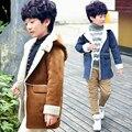 2016 зима детская одежда мальчики плюс бархатная куртка Дети большой мальчик зимнее пальто куртки Верхняя Одежда С Капюшоном L1808