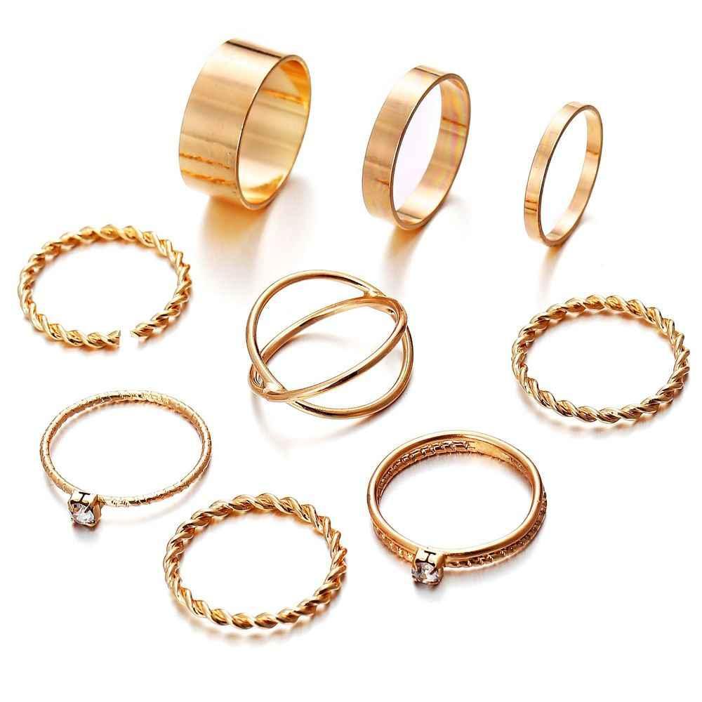 2019 9PCS ทอง/แหวนเงินผู้หญิง Minimal Minimalist เครื่องประดับคริสตัล Knuckle นิ้วเท้าชุดที่สวยงามของขวัญ S