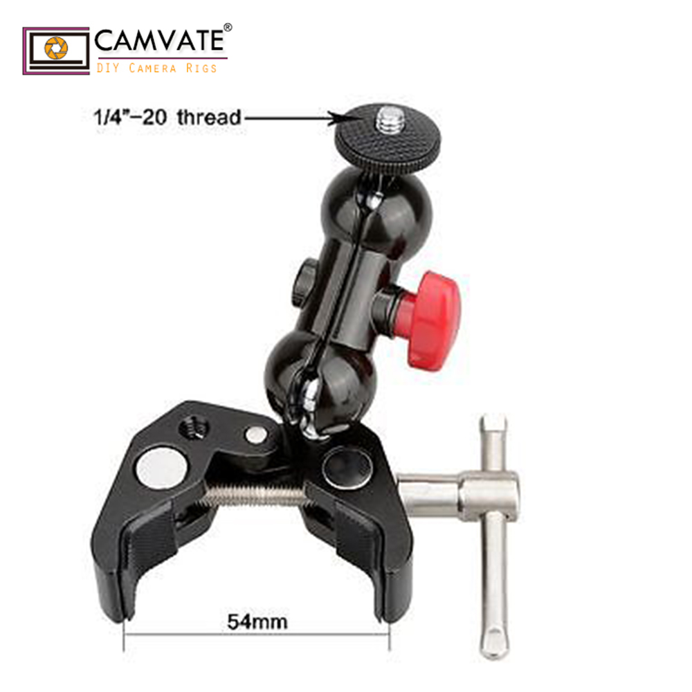 CAMVATE Pôle support de Fixation avec Super Clamp et 360 degrés de Rotation Mini Rotule pour mini 7 , 8 moniteur C1333