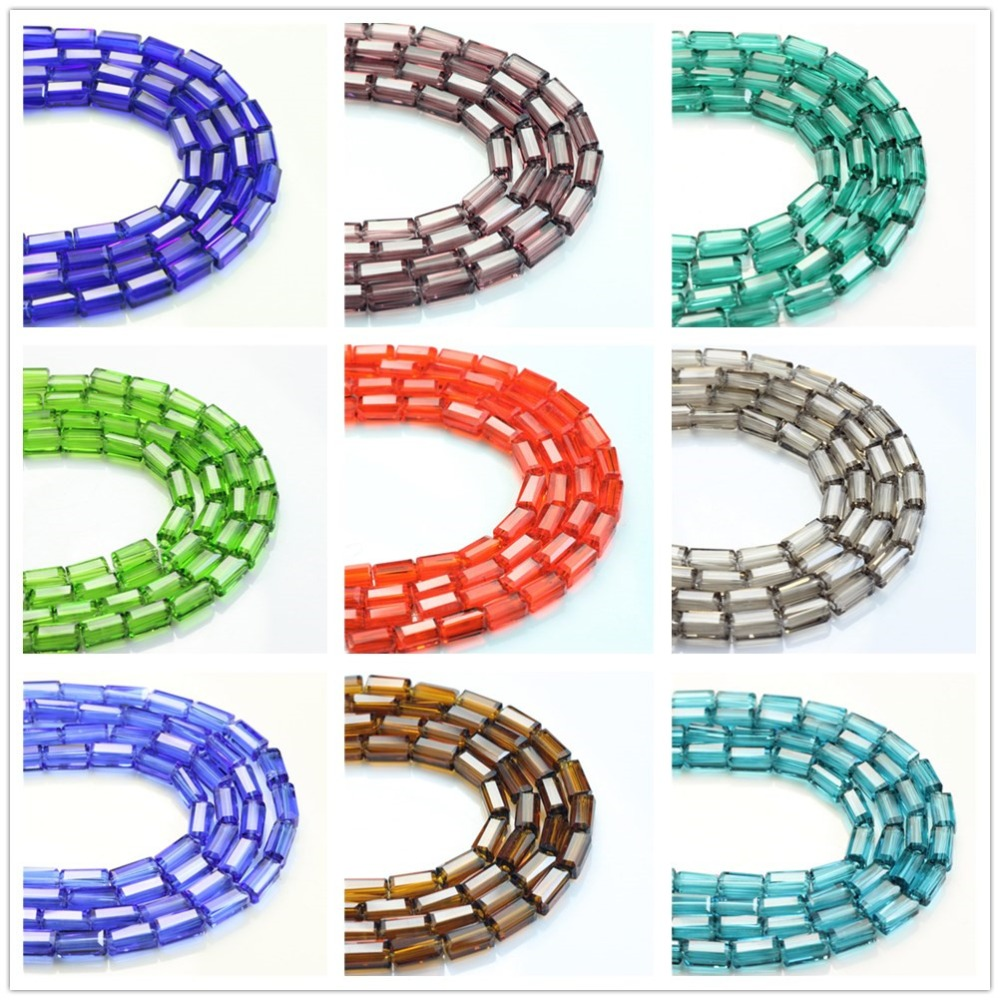 Craft beads in bulk - 3x6mm 80pcs Rectangular Crystal Glass Loose Beads Long Square Bead Multicolor Miyuki Beads Accessories Craft In