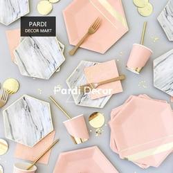 Festa descartável utensílios de mesa copo de papel palha bolo placa de madeira faca e garfo suprimentos de festa marmoring rosa decorações de aniversário