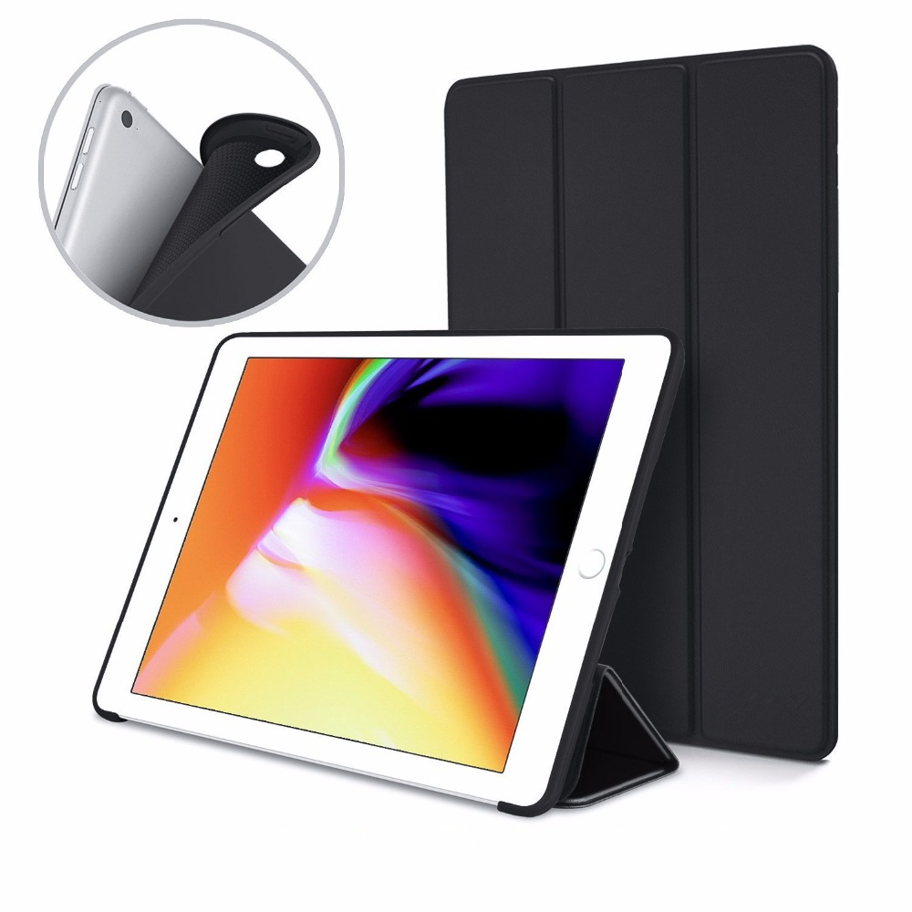 Zimoon Case For New iPad 9.7 Inch 2017 Ultra Slim Lightweight Trifold Smart Cover Stand With Flexible Soft Silicone Back