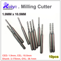 10PC 3 175x1 9x10 5mm Carbide End Mill PCB Milling Cutter CNC Cutter Mini Drill Bit