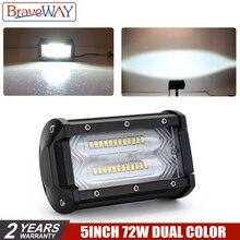 BraveWay 72W LED Work Light 12V 5 Inch Headlight for Auto Fog Lamp Tractor Boat OffRoad Car Truck SUV ATV Motorcyle Lada
