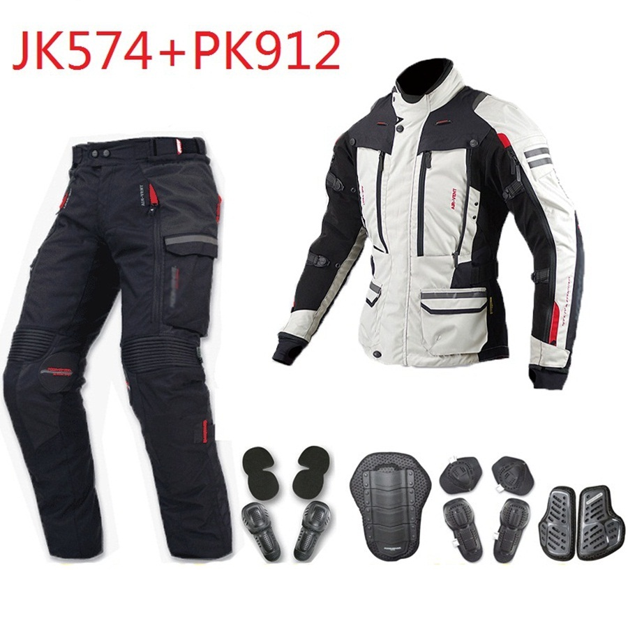 Envío libre 1 Unidades motocicleta Touring textil Cordura impermeable a prueba de viento mantener caliente motocicleta chaqueta y pantjacket