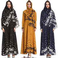 Traditional Muslim women's temperament Slim print retro fashion temperament Slim national style aristocratic dress L0315