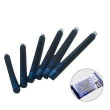 Цена 12 шт одноразовые синие и черные перьевые ручки чернильные картриджи заправки длина перьевой ручки чернильные картриджи заправки
