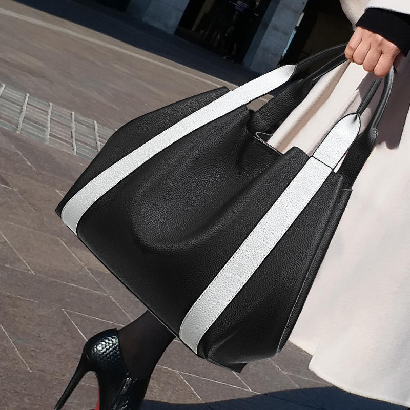2019 Casual Totes For Women Bag Large Capacity Ladies Handbag Hit Color PU Leather Shoulder Shopping Bags Designer Famous Brand
