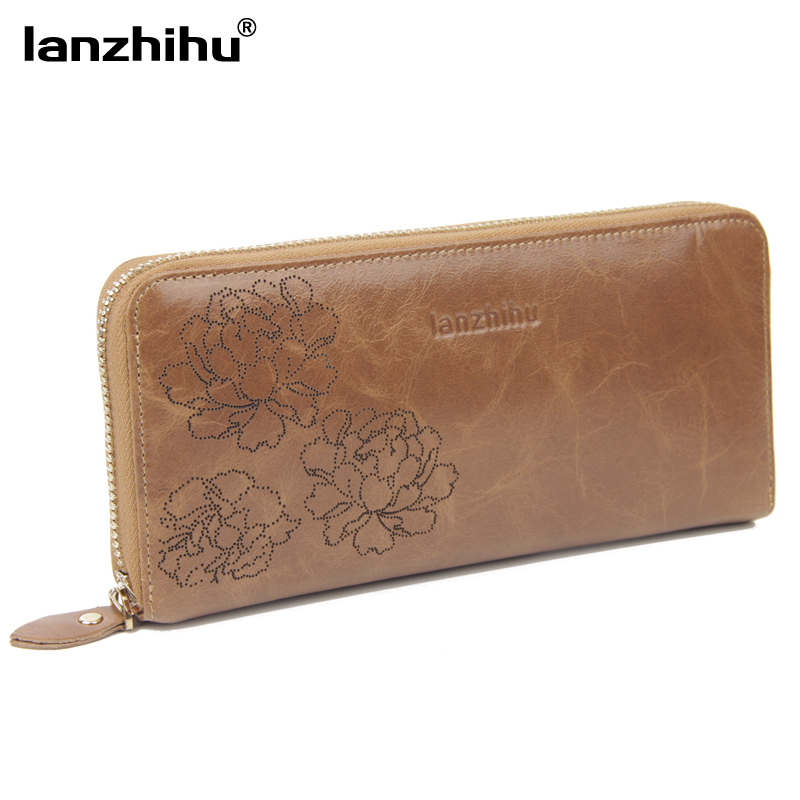 NEW Elegant Carved women genuine leather wallet New arrival first layer of oil wax leather women purse clutch high quality 2017 new style layer of import oil wax cowhide medium paragraph buckle leather wallet men s purse