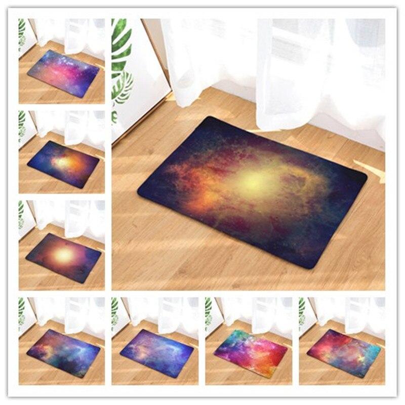 Flannel Floor Mats Galaxy Star Printed Bedroom Living Room Carpets Cartoon Pattern Mat for Hallway Anti-Slip Tapete