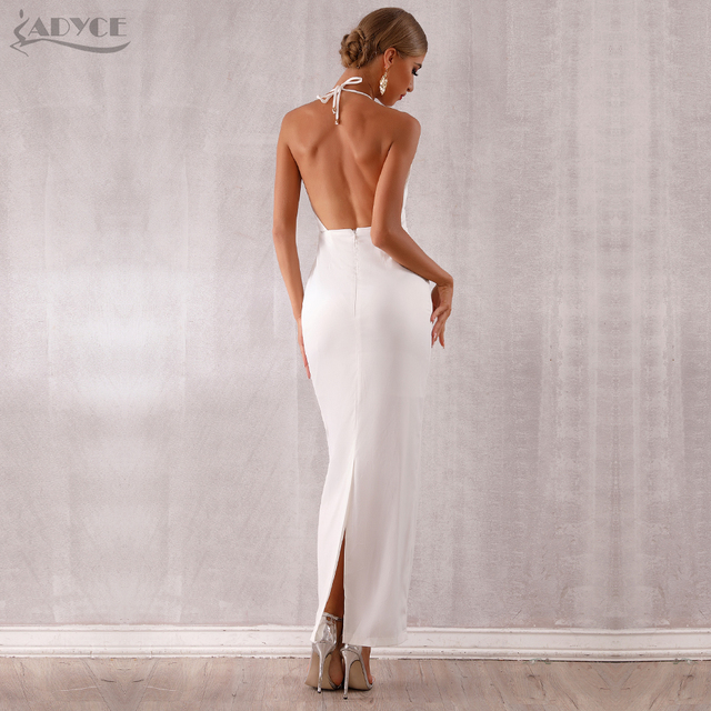Adyce 2019 New Summer Maxi Celebrity Evening Party Dress Women Vestidos Halter Sexy V Neck Backless Sleeveless White Club Dress 2
