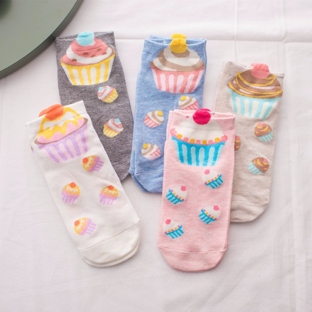 Women Size Cupcake No-shown Ankle Short Socks Fairy Patty Cup Cake Bun Dessert Mousse Pinky Cream Sugar Milk Home Dropshipping