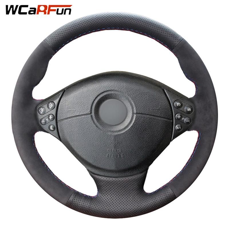 Genuine Leather Black Suede Car Steering Wheel Cover for BMW E39 5 Series 1999-2003 E46 3 Series 1999-2005 E36 E53 BMW X5 Z3