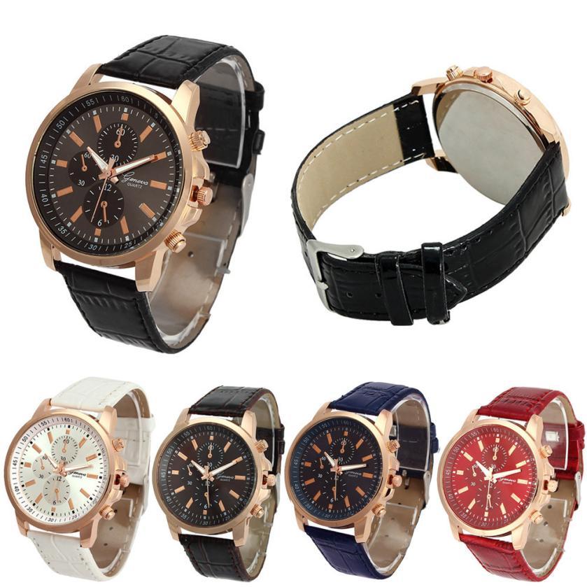 Free Shipping High Quality Men Women's Leather WristWatch Unisex Casual Geneva Faux Leather Quartz Analog Wrist Watch New 40p