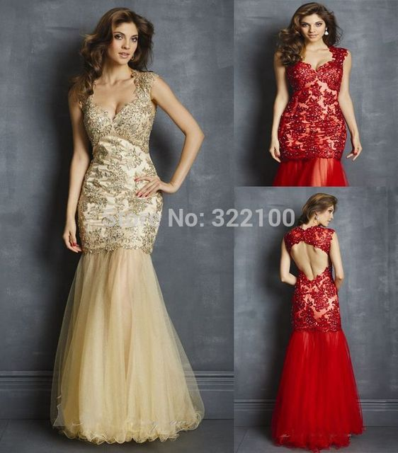 ff02ab5b3e4 36Custom Tulle Cap Sleeve Prom Dresses Size 18 Nude Dress Sexy Red Evening  Gown Open Back Evening Dress For Mother EE205645