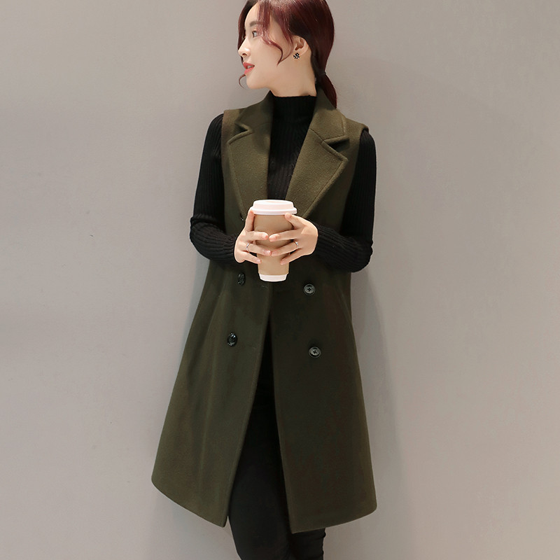 Elegant Woolen Vest Women 2019 Autumn Winter Sleeveless Cardigan Waistcoat Long Blazer Vest Jackets Parkas Chaleco