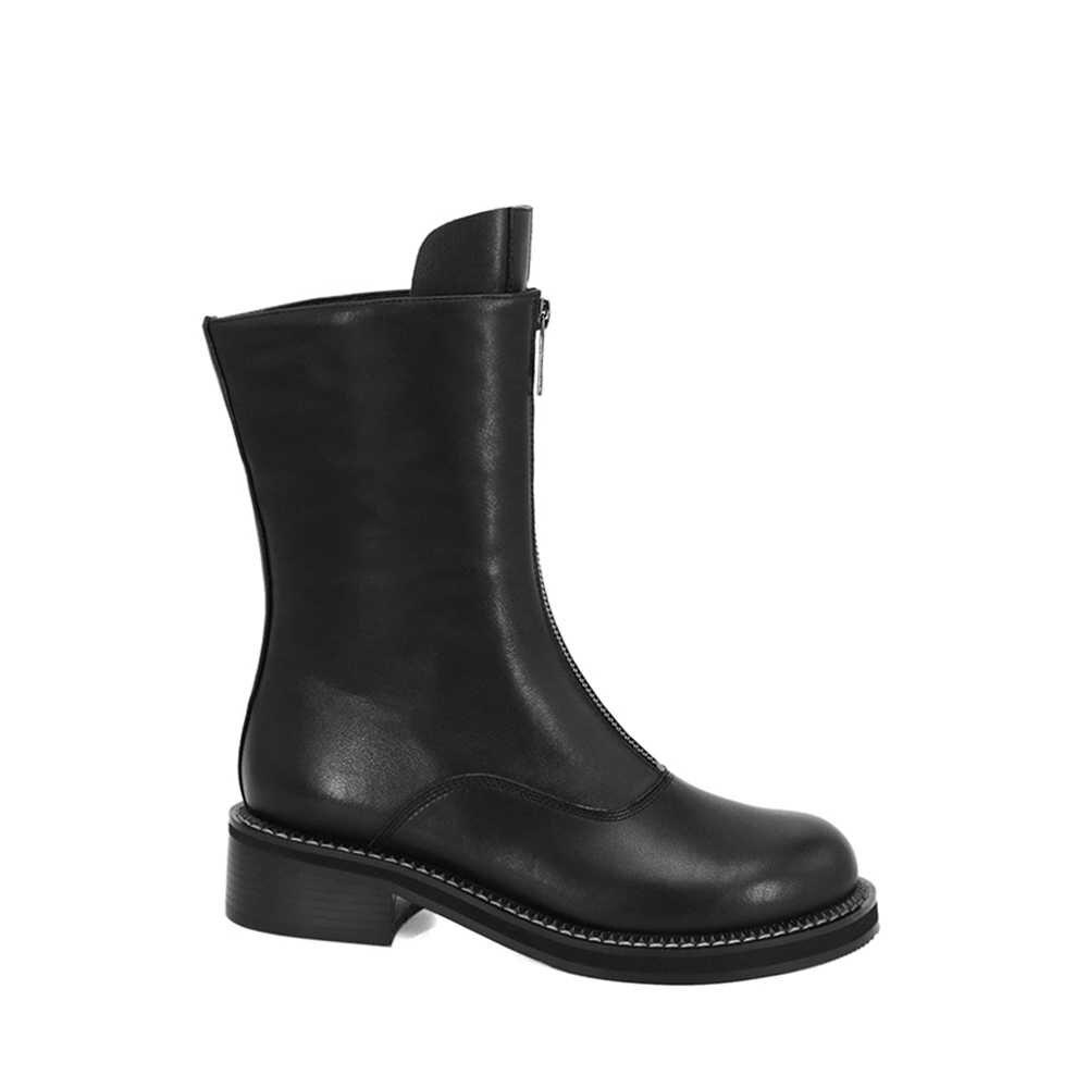 SOPHITINA 2019 yeni orta buzağı çizmeler hakiki deri zarif yuvarlak ayak kadın ayakkabı moda fermuar tasarım düşük topuk günlük çizmeler BA30