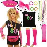 80s Costume Women And Accessories Set Fanny Pack Bangle Headband Leg Lip Shoulder T Shirt 80's Party Lace Headband Neon Necklack