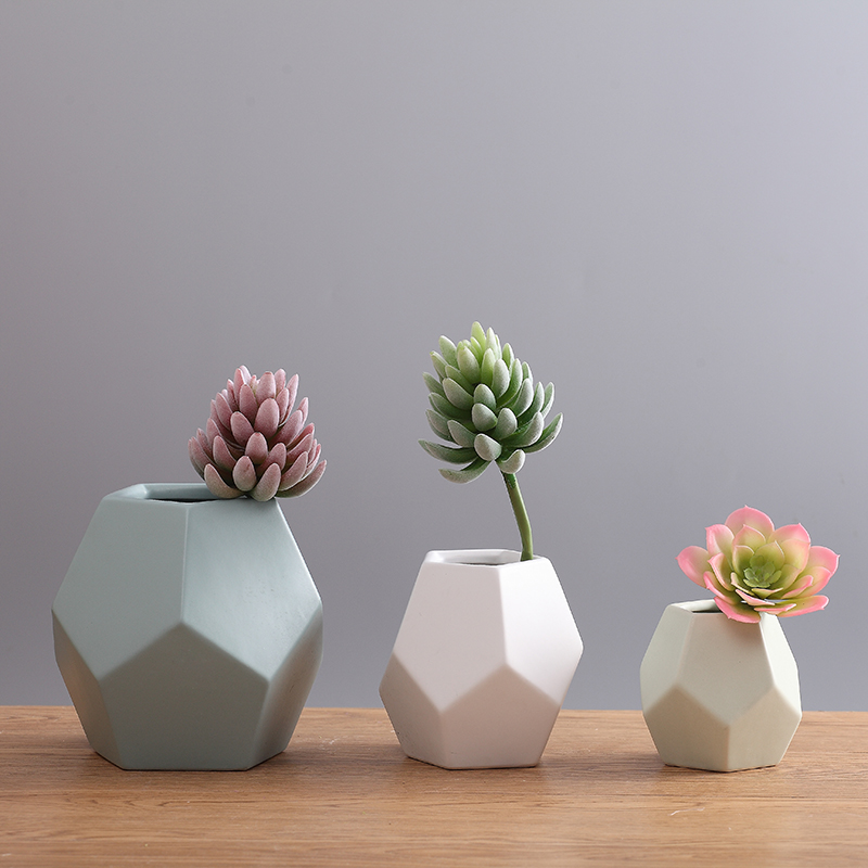 Creative Ceramic Flower Vases Nordic Floral Organ Sitting Room Colorful Geometric Decorative Household Items Furnishing Articles