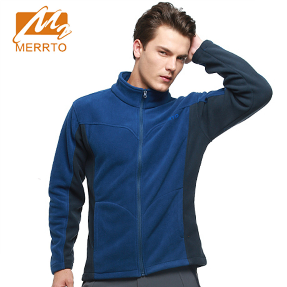 2017 Merrto Mens Fleece Hiking Jackets Thermal Full Zip Color Orange Green Brown Red For Men Free Shipping MT19179 gap mens fleece arch logo full zip hoodie