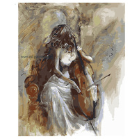 Hand Painted Modern Abstract Sexy Lady Play the Violoncello in Cray Canvas Picture Handmade Woman portrait Wall Art Oil Painting