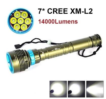 ФОТО  Tazer 14000 Lumen Underwater 200m Torch 7 X Cree Xm l2 Led Scuba Diving Flashlight Light 3x18650 Or 26650 Battery