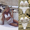 Kmnovo Biquini White High Waist Bikini Solid Women Swimsuit Sexy Swimwear Mesh Bathing Suit Lace Bikini