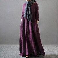 Wintetr Robe À Manches Longues Solide Couleur Noir Orange Violet Femmes pleine Robe Coton Lin Femmes Robe Plus La Taille Casual Maxi robe