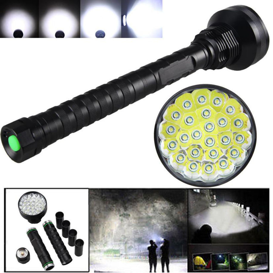 MUQGEW  High Quality 32000LM 24x XML T6 LED Flashlight 5 Modes Torch 26650/18650 Camping Lamp Light 2017 Newest high quality 28000lm 15x xml t6 led flashlight 5 modes torch 26650 18650 camping lamp light