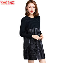 YAGENZ Women Leather Knitting Sweater Stitching Dress Long Section Autumn Winter New Long Sleeves Large Size Womens Clothing 521(China)
